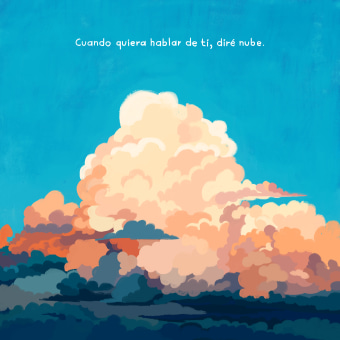 Nube - Poema ilustrado . Un projet de Illustration, Illustration numérique et Illustration éditoriale de Valeria Araya - 09.04.2021
