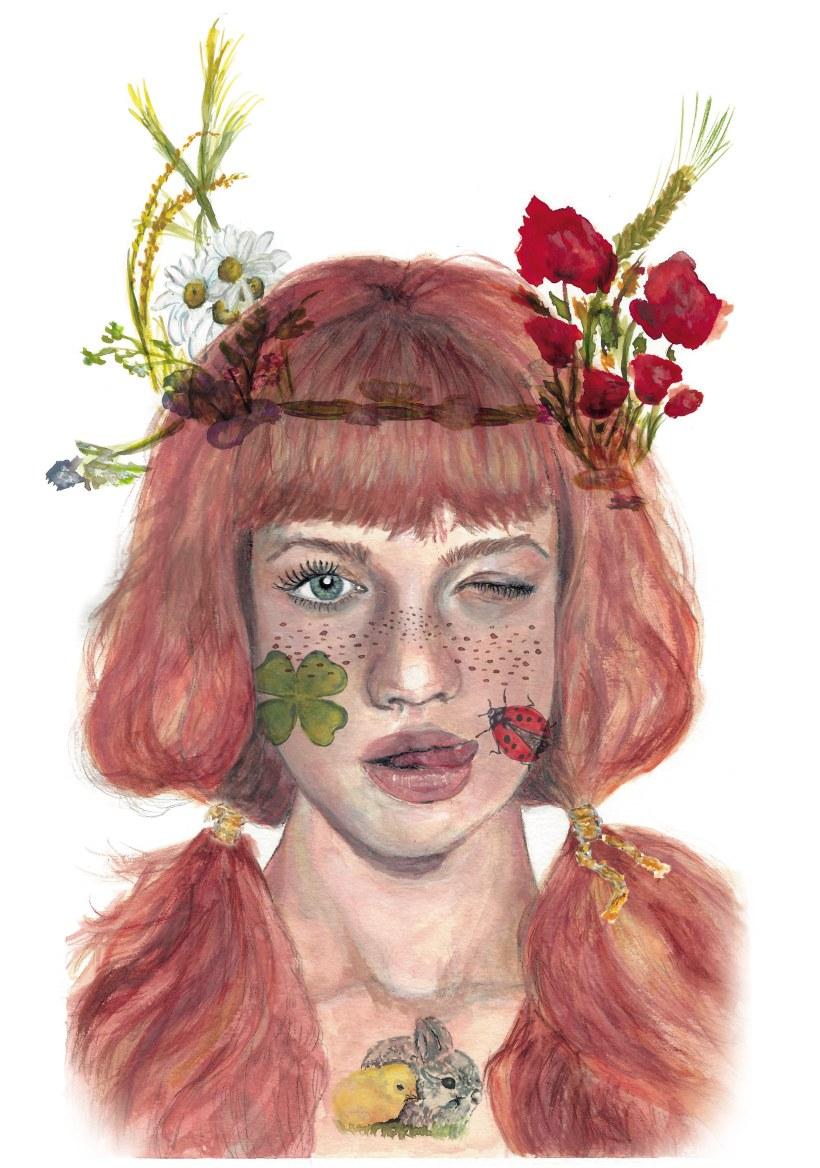 Mi Proyecto Del Curso Retrato Ilustrado En Acuarela Chica De Campo Domestika