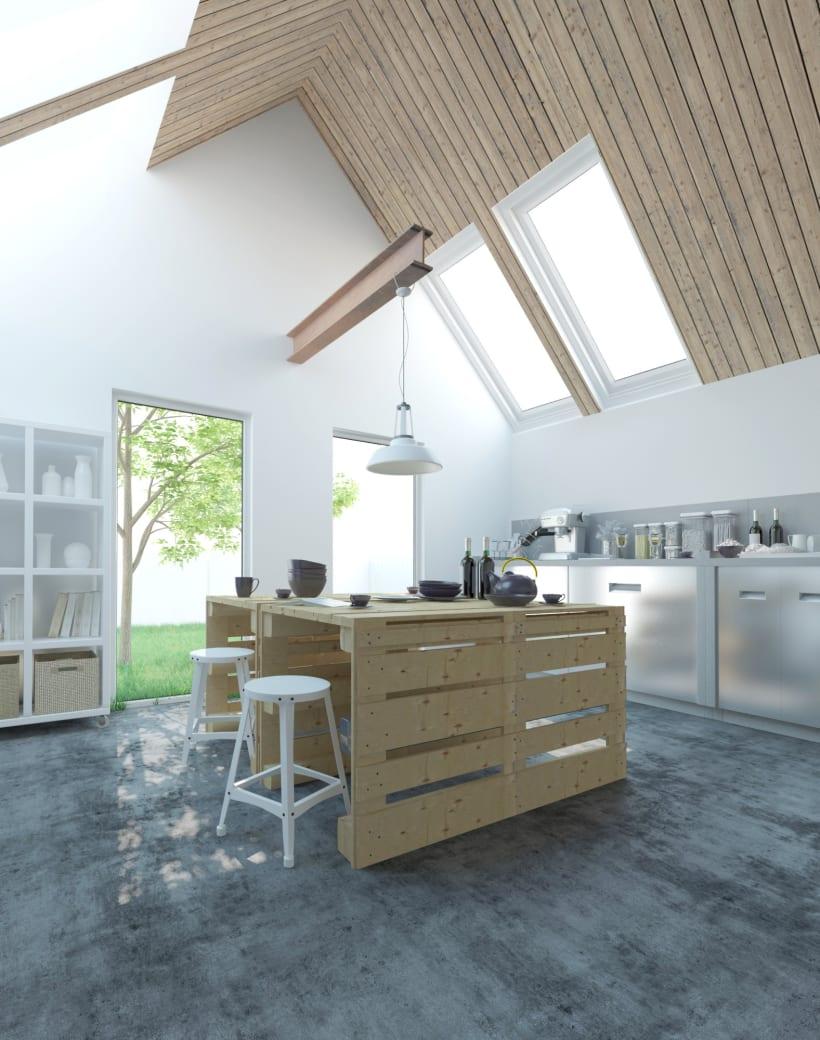 Proyecto 3d para cocina en una vivienda de san sebasti n domestika - Cocinas san sebastian ...