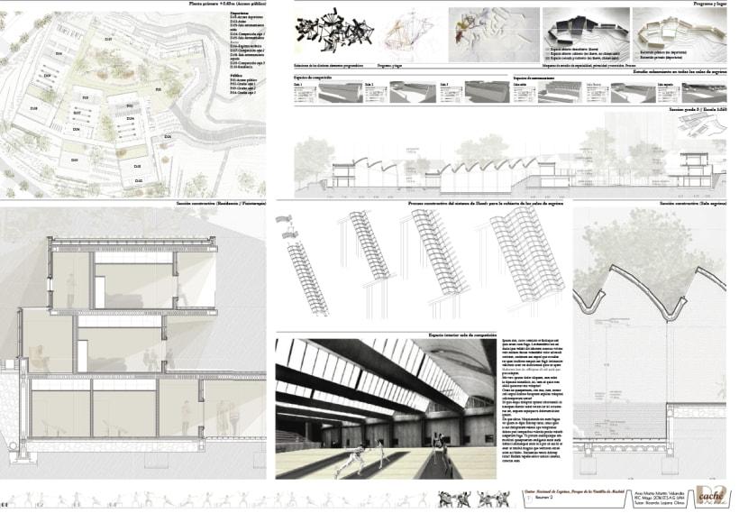PFC Arquitectura. Centro de Alto Rendimiento para esgrima en Parque de la Ventilla, Madrid | Domestika