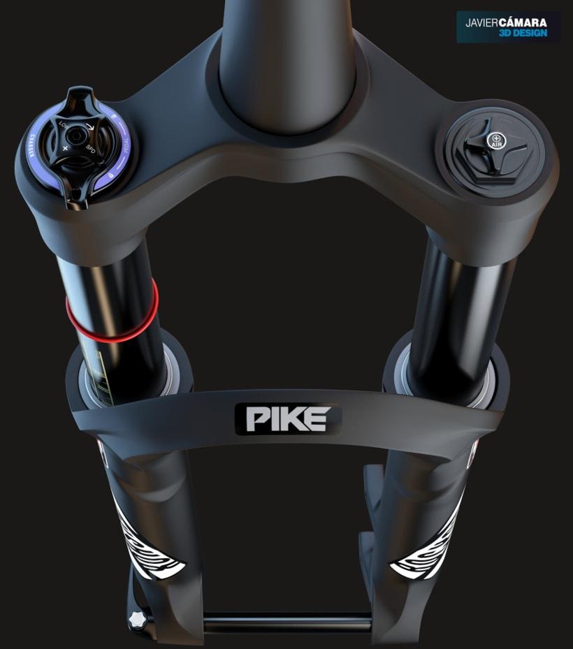 3D Modeling - Enduro Fork Rock Shox Pike | Domestika