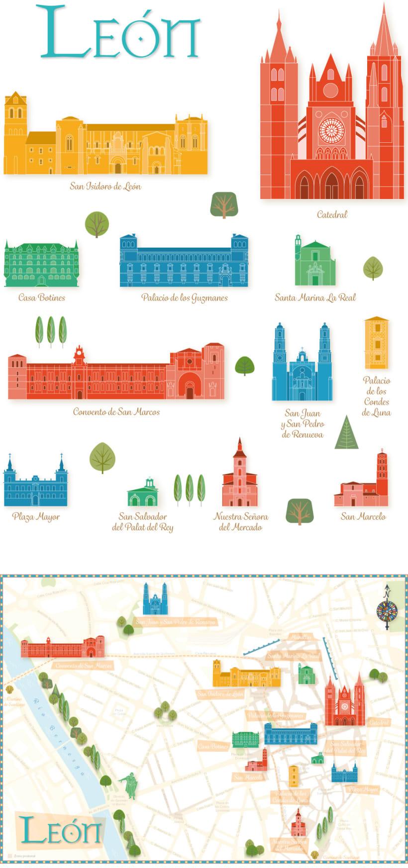 Mapa Turistico Ilustrado De Leon Domestika