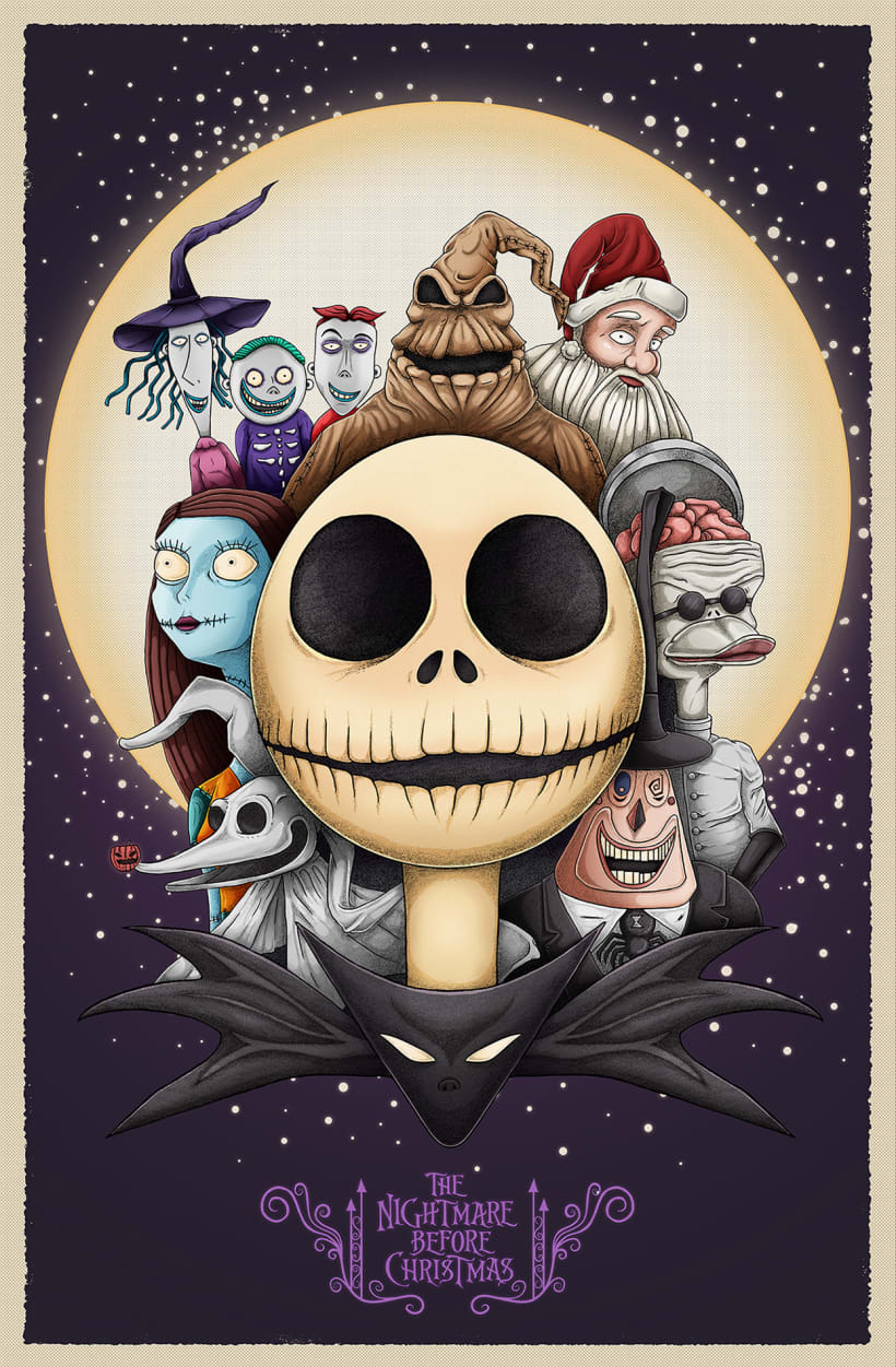 Nightmare Before Christmas Illustration.The Nightmare Before Christmas Fanart Domestika