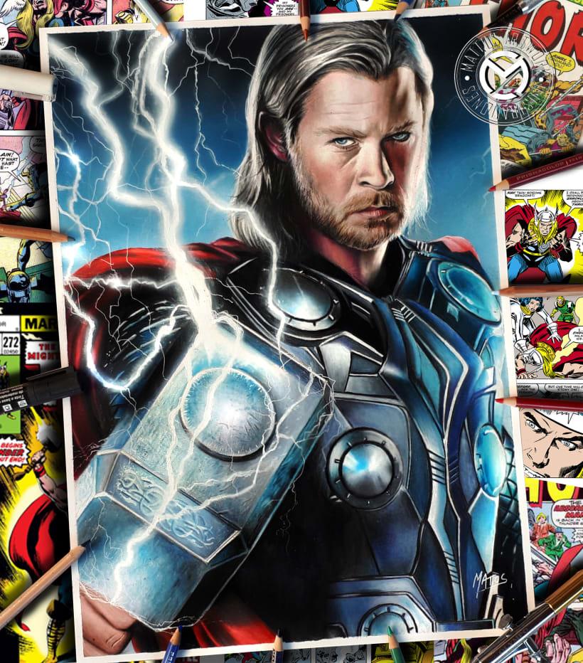 Thor Ilustraciòn En Làpices De Colores Y Aerògrafo Domestika